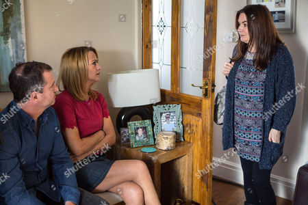 Stock Photo of Ep 8668 Wednesday 24 June 2015 Anna Windass, as played by Debbie Rush, is left saddened by Faye's obvious lack of interest in Miley. Tim informs Anna of Josie Hodge, as played by Eva McNulty, and Grieg Hodge's, as played by Stuart Wolfenden, offer and persuades her to go and speak with them. When Anna and Tim visit, Josie and Grieg assure them they'd take good care of Miley. Tim takes Jackson off privately informing him he'd still want to be a part of Miley's life. But with her heart breaking will Anna agree this is the way forward and how will Faye react to the proposal?