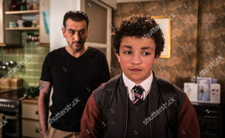 Stock Photo of Ep 8685 Thursday 16th July 2015  When Peter Barlow, as played by Chris Gascoyne, drops the Michelle 'Bombshell' McGee on Simon Barlow, as played by Alex Bain, that he's got a new job with a charter boat company working in the Caribbean, Simon's devastated. As Peter heads off to start his new life, Simon takes his anger out on Leanne.