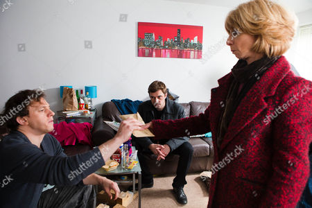 Stock Picture of Ep 8595 Friday 13 March 2015 - 1st Ep Gail, as played by Helen Worth, and Andy, as played by Oliver Farnworth, call at Gavin Rodwell's, as played by Mark Holgate, flat and handing him the £2,500, tell him to stay away from Michael. As they make to leave, Andy reminds Gavin that he must get his heart checked out.