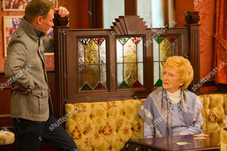 Stock Photo of Ep 8596 Friday 13 March 2015 - 2nd Ep Sean Tully, as played by Antony Cotton, lays into Emily Bishop, as played by Eileen Derbyshire, calling her a homophobe and a bigot,