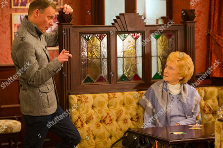 Stock Picture of Ep 8596 Friday 13 March 2015 - 2nd Ep Sean Tully, as played by Antony Cotton, lays into Emily Bishop, as played by Eileen Derbyshire, calling her a homophobe and a bigot,