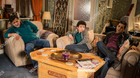 Ep 8598 Monday 16 March 2015 - 2nd Ep Sharif Nazir, as played by Marc Anwar, pretends he's put his back out and asks Kal Nazir, as played by Jimi Mistry, and Zeedan to read the chickens their bedtime story ? Simon Barlow, as played by Alex Bain, is in on the wind up. Will they realise Sharif is winding them up?