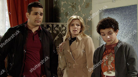 Ep 8593 Monday 9 March 2015 - 2nd Ep With no electricity in the kebab shop or the flat above, Kal Nazir, as played by Jimi Mistry, insists Leanne Tilsley, as played by Jane Danson, and Simon Barlow, as played by Alex Bain, must stay at No.6 with him. Zeedan Nazir, as played by Qasim Akhtar, makes it clear they're not welcome.