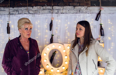 Ep 8646 Monday 25 May 2015 Hell bent on revenge, Tracy Barlow, as played by Kate Ford, corners Liz McDonald, as played by Beverley Callard, in the Rovers yard and drops the Michelle 'Bombshell' McGee that she's been having an affair with Tony and they've plotting to oust her from the pub. Liz is devastated.