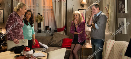 Ep 8543 Monday 29 December 2014 - 2nd Ep Eileen Grimshaw, as played by Sue Cleaver, Michael and Andrea Beckett, as played by Hayley Tamaddon, study the Street Cars bank account, flabbergasted by Steve McDonald's, as played by Simon Gregson, apparent spending spree with the firm's money. In his bedroom, Steve listens to his messages, knowing he's let Amy down over the panto and that his financial mess has finally caught up with him. Liz McDonald, as played by Beverley Callard, finds Steve hiding in his bedroom and demands to know what's going on. Steve drags himself downstairs and tries to bluff his way out, telling Eileen and Andrea it's just a cock-up at the bank and he'll sort it out. But when Eileen and Andrea stais listing all the transactions Steve's made on the account, Steve feels the pressure building. How will he respond?