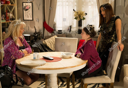 Ep 8542 Monday 29 December 2014 - 1st Ep When Michelle Connor, as played by Kym Marsh, reminds Steve they're taking Amy McDonald, as played by Ellie Mullvaney, to the panto this afternoon, he does his best to appear enthusiastic, but Liz McDonald, as played by Beverley Callard, can see his heart isn't in it and whilst nobody's looking Steve slinks off back to bed.