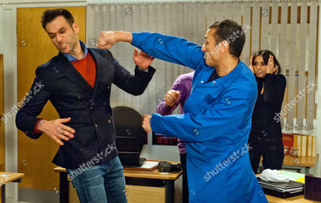 Ep 7430 Friday 19 February 2016 The tension is high between Nikhil Sharma, as played by Rik Makarem, and Jai Sharma, as played by Chris Bisson, and the two of them end up punching each other.