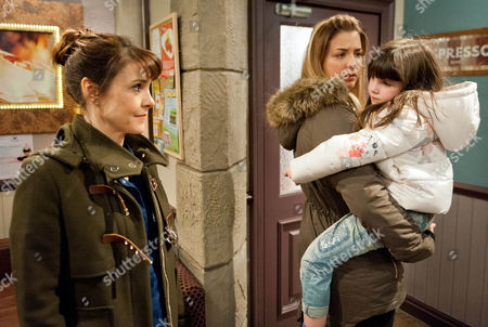 Ep 7442 Friday 4 March 2016 Emma Barton's, as played by Gillian Kearney, heart sinks when she sees bruises on April's, as played by Ameila Flanagan, arm. She asks where she got them from but April evades the question and Emma's concerned when she doesn't want Marlon or Carly Hope, as played by Gemma Atkinson, to know. Carly panics April's missing as Emma ushers her back to the café. Emma's on high alert as she watches Carly with April.