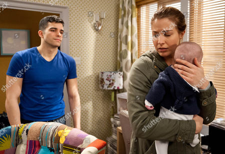 Ep 7420 Tuesday 9 February 2016 Kirin Kotecha, as played by Adam Fielding, despairs as he continues to look after a crying Johnny on his own and grabs a can of beer, turning the music up in order to drown him out. A frustrated Kirin is at the end of his tether and screams in Johnny's face. Carly Hope, as played by Gemma Atkinson, sees him and takes Johnny away. Kirin pleads with her not to tell Vanessa but can Carly keep this from her friend?