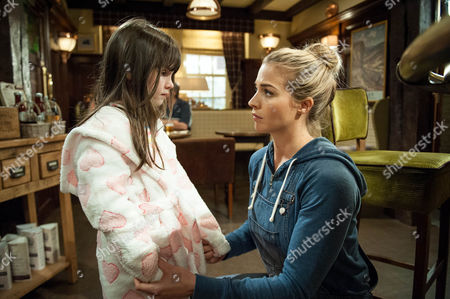 Ep 7587 Tuesday 16 August 2016 Furious Carly Hope, as played by Gemma Atkinson, isn't looking after her, April Windsor, as played by Amelia Flanagan, tricks Pearl into the cupboard and locks her in. April then finds Carly and asks why she doesn't like her any more.