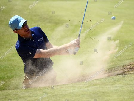 Roberto Castro of the US blasts from a bunker during a practice session prior to the British Open Golf Championship at Royal Birkdale, Britain, 18 July 2017.