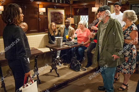 Ep 7591 Thursday 18 August 2016 - 2nd Ep Angie Bailey, as played by Nina Toussaint-White, tells the Dingles and Bailey, as played by Micah Balfour, what she heard in the toilets. Ellie urges Belle Dingle, as played by Eden Taylor-Draper, to run and she rushes out.