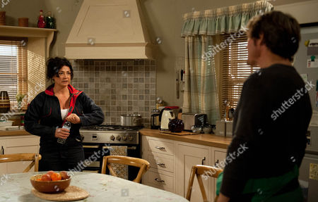 Stock Photo of Ep 7610 Thursday 8th September 2016 - 1st ep James Barton, as played by Bill Ward, is shocked when Moira Barton, as played by Natalie J Robb, tells him she's going to sell up and move away. As he urges her to think about her decision Holly Barton, as played by Sophie Powles, arrives, pleased about her new job. But is soon aghast to hear her mum's planning to sell.