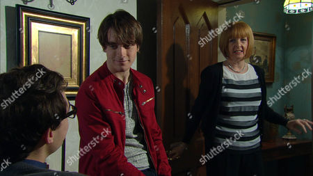 Ep 7162 Tuesday 21 April 2015 Val Pollard, as played by Charlie Hardwick, is puzzled over Finn Barton's, as played by Joe Gill, attitude regarding Darren, as played by Danny Horn.
