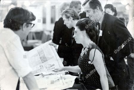 Princess Margaret And Lord Snowdon - October 1968 Princess Margaret Sees The Daily Mail In The Making Last Night. The Earl Of Snowdon And The Editor Mr Arthur Brittenden Look On As Mr Leslie Sellers Production Editor Shows The Princess A Page In Proof...
