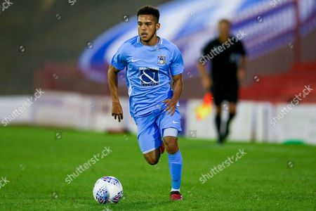Stock Image of Coventry City defender Devon Kelly-Evans (17) in action  during the Pre-Season Friendly match between Barnsley and Coventry City at Oakwell, Barnsley