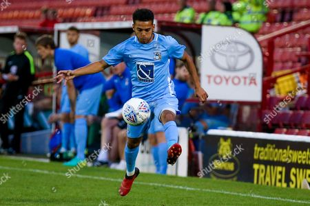 Coventry City defender Devon Kelly-Evans (17) controls the ball on the run during the Pre-Season Friendly match between Barnsley and Coventry City at Oakwell, Barnsley