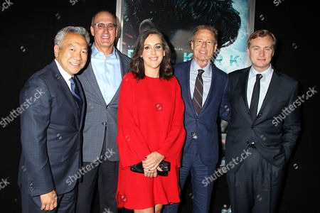 Stock Photo of Kevin Tsujihara, John Stankey, Emma Thomas, Jeff Bewkes, Christopher Nolan