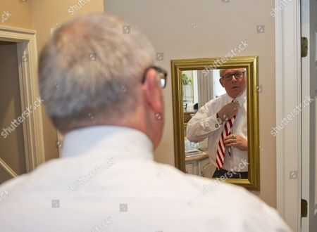 Stock Image of Michael R. Caputo, a Republican political strategist and media consultant, prepares for his testimony before the United States House Permanent Select Committee on Intelligence as part of their investigation into Russian interference in the 2016 US presidential election, at the home of a long-time friend in McLean, Virginia.
