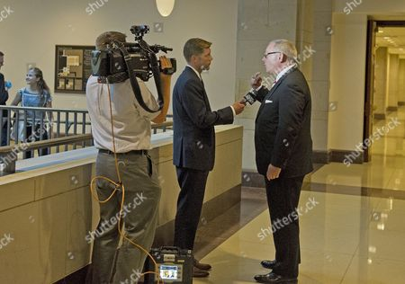 Michael R. Caputo, a Republican political strategist and media consultant, is interviewed by Casey Bortnick of Spectrum News following his testimony before the United States House Permanent Select Committee on Intelligence as part of their investigation into Russian interference in Washington, DC.