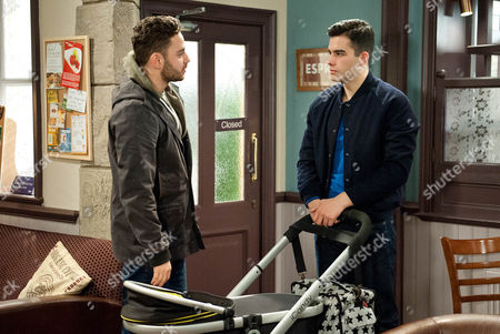 Ep 7400 Friday 15 December 2015  Kirin Kotecha, as played by Adam Fielding, struggles with Johnny, who won't stop crying but Adam Barton, as played by Adam Thomas, can't stay as he's unable to take seeing them together.