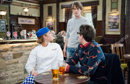 Ep 7128 & 7129 Thursday 12 March 2015 Darren, as played by Danny Horn, the nurse arrives with flowers for her and Victoria Sugden, as played by Isobel Hodgins, tries to set Finn Barton, as played by Joe Gill, up with him but soon it backfires.
