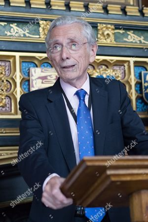 Norman Fowler, Lord Speaker speaks at a Pink News parliamentary reception to celebrate the 50th anniversary of decriminalisation on homosexuality, held at Speaker's House in the Palace of Westminster in London.