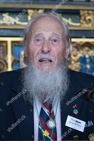 George Montague, the oldest living British man to have been imprisoned for his homosexuality speaking at a Pink News parliamentary reception to celebrate the 50th anniversary of decriminalisation on homosexuality, held at Speaker's House in the Palace of Westminster in London.