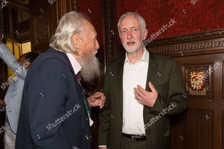 Jeremy Corbyn and George Montague, the oldest living British man to have been imprisoned for his homosexuality speaking at a Pink News parliamentary reception to celebrate the 50th anniversary of decriminalisation on homosexuality, held at Speaker's House in the Palace of Westminster in London.