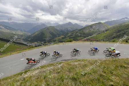 A group of riders French Sylvain Chavanel (L) of Direct Energie, Australian Daryl Impey (2L) of Orica-Scott, Czech Roman Kreuziger (3L) of Orica-Scott and Colombian Nairo Quintana of Movistar Team (4L) in action during the 17th stage of the 104th edition of the Tour de France cycling race over 183km between La Mure and Serre Chevalier, France, 19 July 2017.