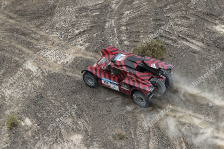 An aerial view of Italian driver Eugenio Amos of Two Wheels Drive in action during the tenth leg of the Silk Way Rally 2017 from Hami to Dunhuang, China, 18 July 2017 (issued 19 July).