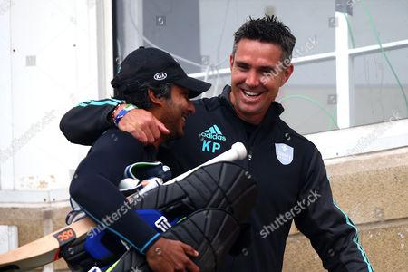 Kevin Pietersen (R) of Surrey hugs Kumar Sangakkara ahead of Surrey vs Essex Eagles, NatWest T20 Blast Cricket at the Kia Oval on 19th July 2017
