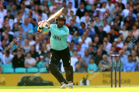 Kumar Sangakkara in batting action for Surrey during Surrey vs Essex Eagles, NatWest T20 Blast Cricket at the Kia Oval on 19th July 2017