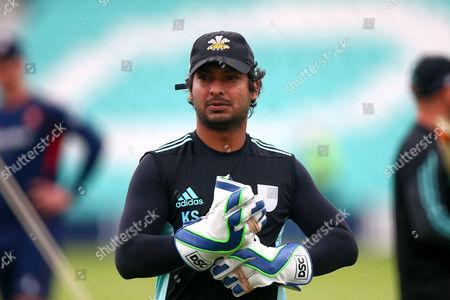 Kumar Sangakkara of Surrey looks on ahead of Surrey vs Essex Eagles, NatWest T20 Blast Cricket at the Kia Oval on 19th July 2017