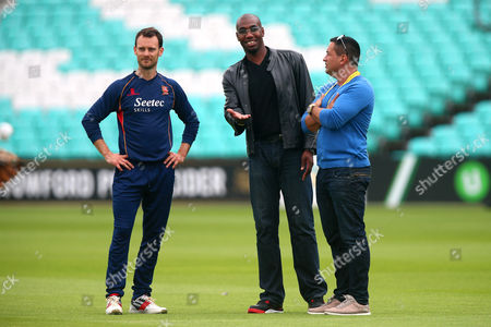 Ex-Essex player Alex Tudor (C) and James Foster (L) look on ahead of Surrey vs Essex Eagles, NatWest T20 Blast Cricket at the Kia Oval on 19th July 2017
