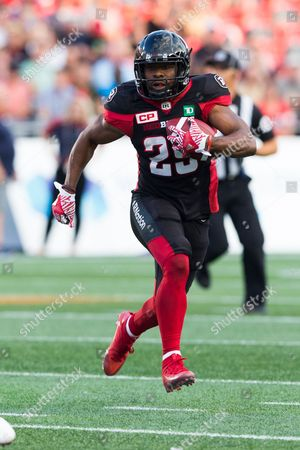 Ottawa Redblacks running back William Powell (29) rushes the ball during the Canadian Football League game between Montreal Alouettes and Ottawa Redblacks at TD Place Stadium in Ottawa, Canada. Redblacks won by a score of 24-19 for their first victory of the season