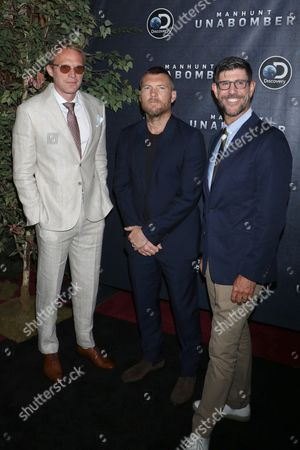 Stock Picture of Paul Bettany, Sam Worthington and Rich Ross, Group President of the Discovery Channel