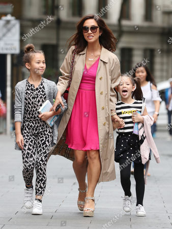 Myleene Klass, Hero Harper Quinn and Ava Bailey Quinn at Global Radio Studios