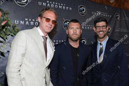 Stock Image of Paul Bethany, Sam Worthington, Rich Ross Paul Bethany, Sam Worthington and Rich Ross, Group President of Discovery Channel, Animal Planet, Science Channel and Velocity at the world premiere of Discovery's Manhunt: UNABOMBER on in New York
