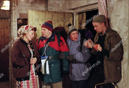 Two campers on a working holiday researching local customs for their historical societ arrive at the Dingles Wishing Well Cottage. Nellie makes a fuss of them, but they are petrified to find Sam brandishing a bloody meat cleaver - With Nellie Dingle, as played by Sandra Gough ; Sam Dingle, as played by James Hooton ; Rusty Hislop, as played by Cliff Howells; and Denise Hislop, as played by Phillippa Howell. (Ep 2030 - 28th November 1995).