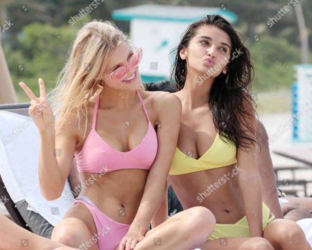 Editorial image of Joy Corrigan and Kristyna Schickova out and about, Miami Beach, USA - 19 Jul 2017