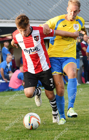 Kyle Egan of Exeter City competes for the ball with Ben Palmer of Taunton Town, during the pre season friendly match between Taunton Town and Exeter City, on Thursday 20th July 2017 at The Viridor Stadium, Taunton, Somerset