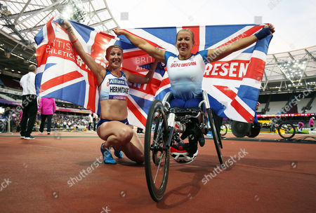 Hannah Cockroft of Great Britain celebrates after winning gold in the Womens 400m T34 Final alongside Georgina Hermitage who won gold in the Womens 400m T37.