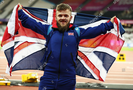 Kyron Duke of Great Britain celebrates after winning a silver medal in the Mens Shot Put F41.