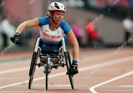 Hannah Cockroft of Great Britain appears emotional as she celebrates after winning gold in the Womens 400m T34 Final,