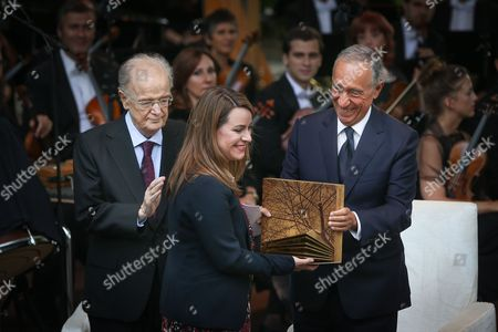 Portugal's President Marcelo Rebelo de Sousa (R), accompanied by Calouste Gulbenkian 2017 Prize Jury President Jorge Sampaio (L), greets Hungarian Helsinki Committee vice-president Marta Pardavi after receiving the Calouste Gulbenkian 2017 Prize, at Calouste Gulbenkian Foundation, in Lisbon, Portugal, 20 July 2017. The Calouste Gulbenkian 2017 Prize, with the sum of 100,000 euros, is ex-aequo awarded to the Hungarian Helsinki Committee, a non-governmental organisation that provides legal support to migrants and refugees in Hungary and to Professor Jane McAdam, an influential Australian researcher in the field of law.