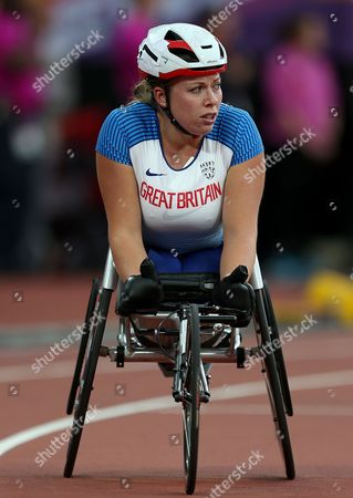 Hannah Cockroft of Great Britain after winning gold in the Womens 400m T34 Final