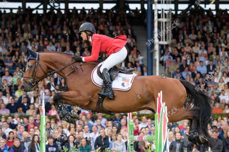 Elizabeth Madden of USA on Coach compete in the Mercedes-Benz Nations´ Cup show jumping event at the CHIO in Aachen, Germany 20th July 2017.