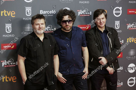 Argentinian directors and producers Gaston Duprat (L), Mariano Cohn (C) and Andres Duprat (R) arrive for the presentation of the Platino Awards at the Callao Cinema in Madrid, Spain, 20 July 2017. The Caja Magica stadium will be the venue for the fourth edition of the Ibero American Cinema Platino Awards award ceremony on 22 July 2017.