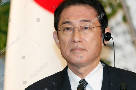 Japanese Minister for Foreign Affairs Fumio Kishida speaks during a news conference at the Iikura guest house, Tokyo, Japan.